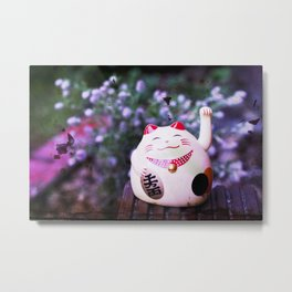 Maneki Neko chill Metal Print