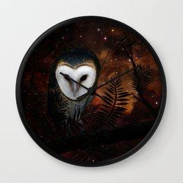 Barn owl at night Wall Clock