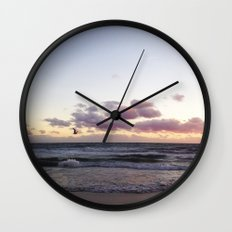 Sunset and Seagull Wall Clock