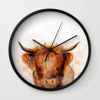 cow Wall Clocks featuring Cow by emegi
