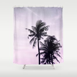 Palms on the Beach - Ultra violet, pink, purple and black Shower Curtain