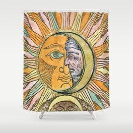 Sun and Moon Face Shower Curtain
