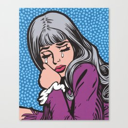 Silver Hair Sad Girl Canvas Print