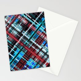 Bluish check techno pattern, color lines in blue shades Stationery Cards