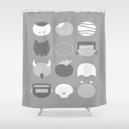 Old School Minimalist Movie Monsters Shower Curtain