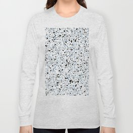 'Speckle Party' Blue Black and White Speckle Terrazzo Pattern Long Sleeve T-shirt