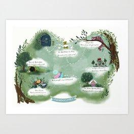 Wonderland map  Art Print