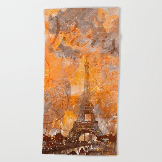 Paris Eifel Tower orange mixed media art Beach Towel