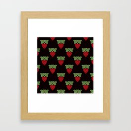 Strawberry fun . Children's colorful pattern . Framed Art Print