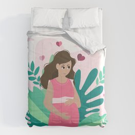 it's a girl! Pregnancy announcement illustration Comforters