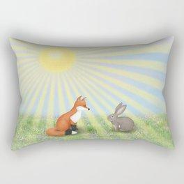 fox and bunny Rectangular Pillow