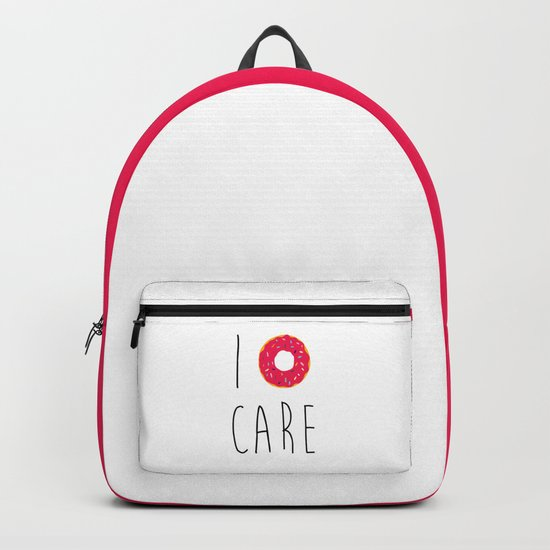 I Donut Care Funny Quote Backpack