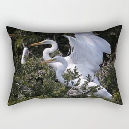 Egret Nest with Fledglings in Rookery Rectangular Pillow