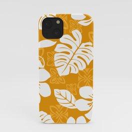 Orange & White Hibiscus Aloha Hawaiian Flower Blooms and Tropical Banana Leaves Pattern iPhone Case
