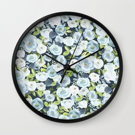 Lovely Slate Blue Floral Print, Hand-Painted Flowers, Roses, Bouquets, Blue Blossoms, Navy Wall Clock