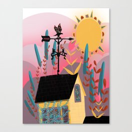 Summer Sunset Weathervane Canvas Print