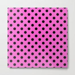 Pink & Black Polka Dots Metal Print