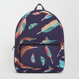 Colorful Feathers Repeating Pattern Backpack