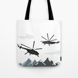 Black Helicopters in the Mountains Tote Bag
