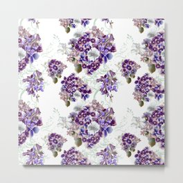 French pattern in vintage Provance style with lilac Metal Print