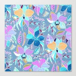 Pastel Tropical Floral Canvas Print