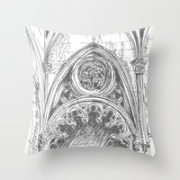 gothic Throw Pillows featuring gothic by Tereza Del Pilar