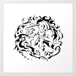 Lion vs Unicorn Art Print