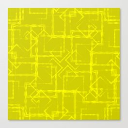 Carved squares and rhombuses on a yellow background. Canvas Print