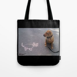 """""""Cat Skeptical"""" from the photo series""""My dog, PLaY-DoH"""" Tote Bag"""