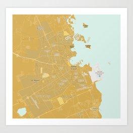Minimalist Modern Map of Doha, Qatar 8 Art Print