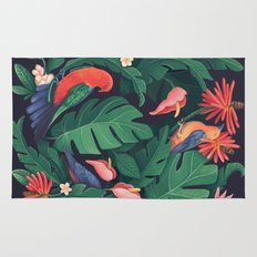 Midnight Bird Jungle Rug