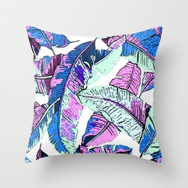 BANANA LEAF PALM PASTEL PINK AND BLUE Throw Pillow