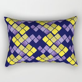 Mozaic pattern in faux gold, yellow, purple and navy indigo Rectangular Pillow
