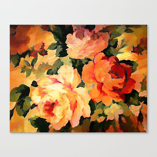 Vintage Painterly Floral Abstract Canvas Print