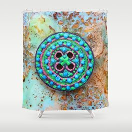 Button for happiness Shower Curtain