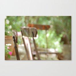 Trois Chaises, Atelier de Cézanne ~ Three chairs in garden, Cezanne's home Canvas Print