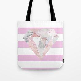 Light Pink Stripes & Marble Diamond Tote Bag