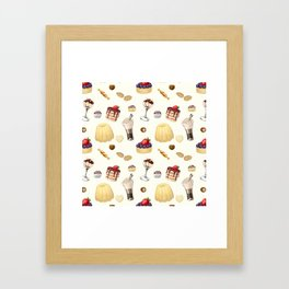 Sweet pattern with various desserts. Framed Art Print