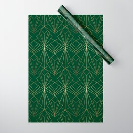 Art Deco in Gold & Green - Large Scale Wrapping Paper