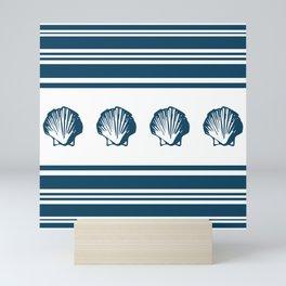 Seashells and stripes Mini Art Print