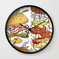 burger Wall Clocks featuring Burger by Duke.Doks
