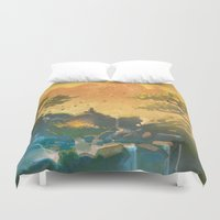 meditation Duvet Covers featuring Meditation  by Michael Jared DiMotta Illustrations