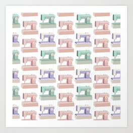 Retro Sewing Machine Pink, Mint and Lavender Art Print