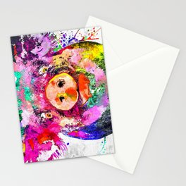 Pig Watercolor Grunge Stationery Cards
