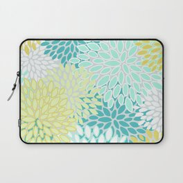 Floral Abstract Summer Pattern, Teal, Mint Green, Yellow Laptop Sleeve