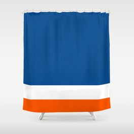 UNEVEN BRILLIANT BLUE DAZZLING WHITE COSMIC ORANGE STRIPED Shower Curtain