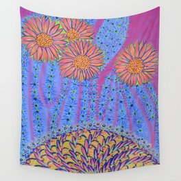 Spiky Saguaro Blooms and Spiny Basket - Desert Energy Wall Tapestry