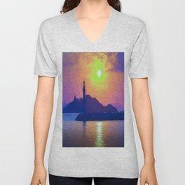 Bodrum Lighthouse Impressionism Unisex V-Neck