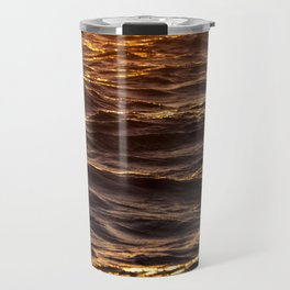 Sea waves at sunset Travel Mug