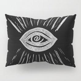 Evil Eye Silver on Black #1 #drawing #decor #art #society6 Pillow Sham